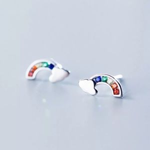 925 Sterling Silver Rainbow Colorful Crystal Stud